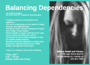 Free public workshop offered by Stephen Douglas RP on dependencies and addictions - April 7, 2017, MiBody Fitness and Health Studio in Etobicoke.